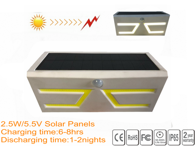 Rechargeable Solar LED PIR Light IP65 3000mAh Battery CE Approved Custom Design