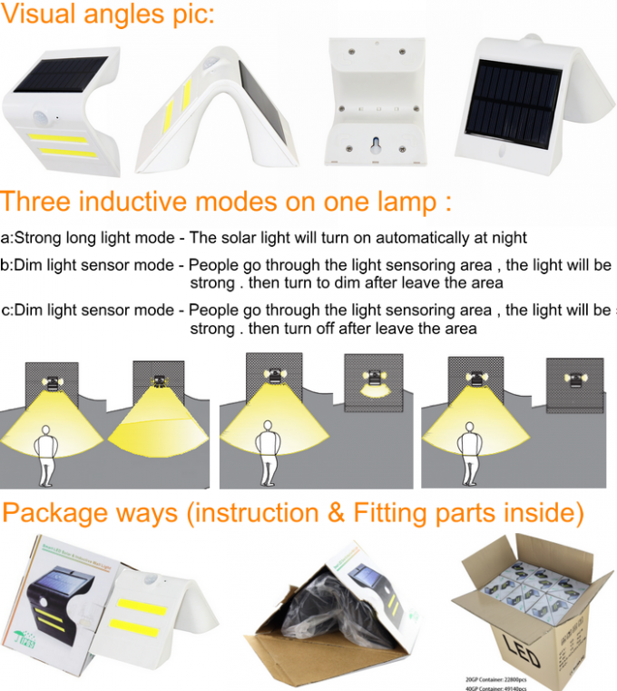 Ultra Bright Solar Powered LED Wall Light Renewable Resources With ABS Material