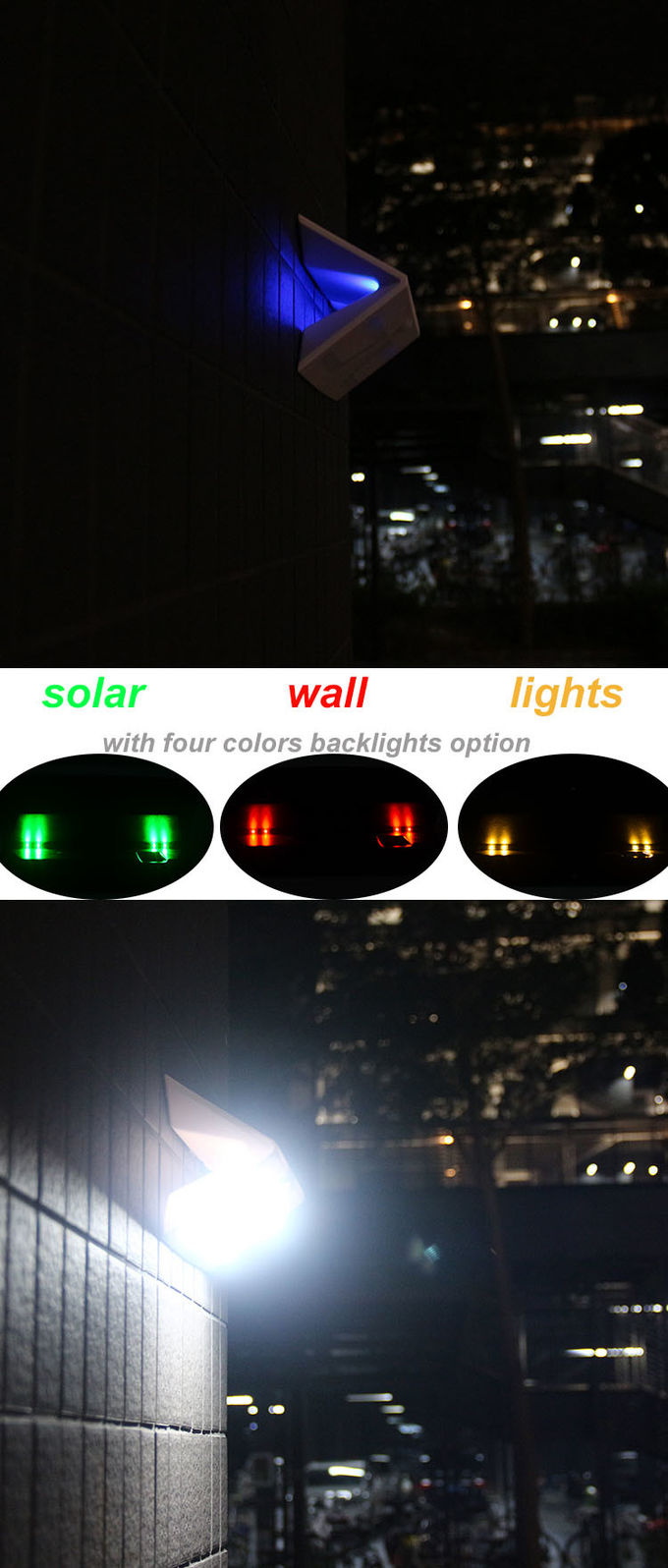 Warm White Solar Outdoor Wall Lights Decorative Backlights 5w 3000mAh CE Certificated